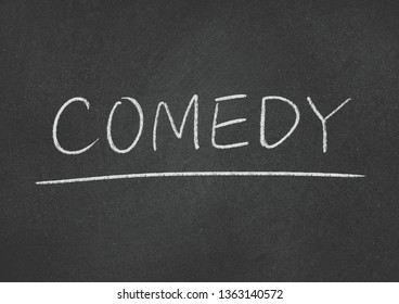 comedy concept word on blackboard background