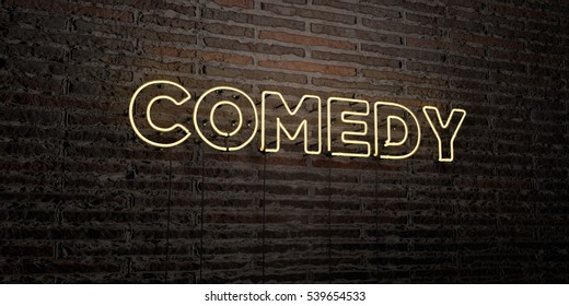 COMEDY -Realistic Neon Sign on Brick Wall background - 3D rendered royalty free stock image. Can be used for online banner ads and direct mailers.
