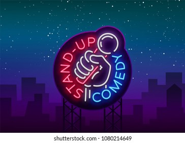 Comedy Show Stand Up invitation is a neon sign. Logo, Emblem Bright flyer, light poster, neon banner, brilliant night commercials advertisement, card, postcard. illustration.
