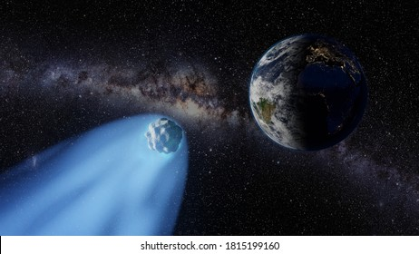 Comet flies near the Planet Earth with the Milky Way galaxy in the background - 3D Illustration