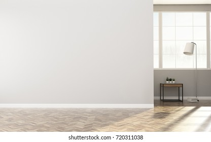 Comfort space in condominium.White room with table . Living room interior. -3d rendering