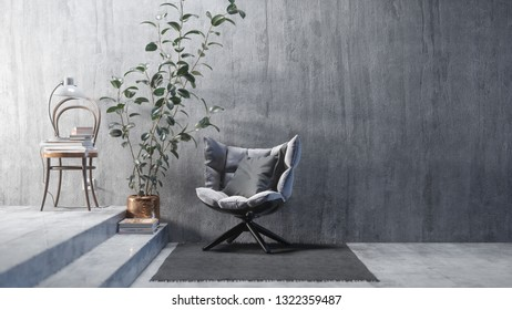 Comfortable armchair near the concrete wall with a large plant. 3d illustration