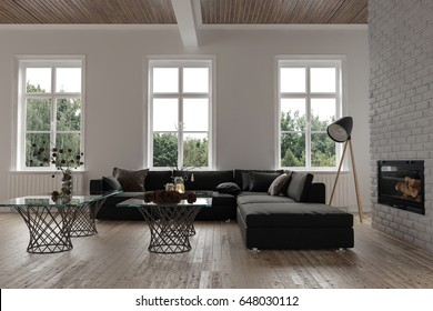 Comfortable corner in a modern living room interior with three windows , a large modular couch, lamp and glass coffee tables in front of a chimney fire insert with radiators on the wall. 3d rendering