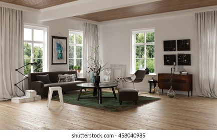 Comfortable cozy living room corner in an open plan loft interior with hardwood floor and sofa with rug and tables overlooked by windows on all sides, 3d rendering