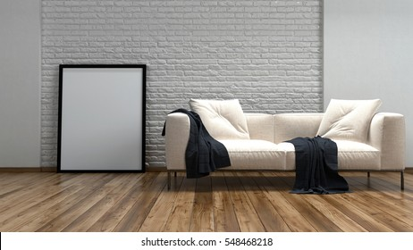 Comfortable cream couch and large rectangular blank picture frame against a textured rough finish white brick wall on a hardwood floor , low angle 3d rendering view