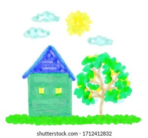 Comfortable house and garden with a young green tree. The illustration is drawn in watercolor technique in a computer program in the style of a child's drawing.