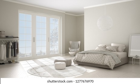 Comfortable modern white and beige bedroom with wooden parquet floor, panoramic window on winter landscape, carpet, armchair and bed with blanket and pillows, minimal interior design, 3d illustration
