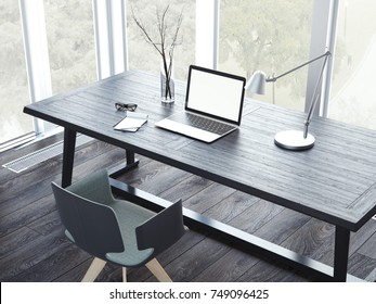 Comfortable working place with laptop in the modern interior. 3d rendering