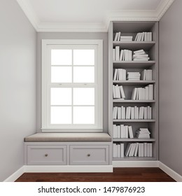 Comfy upholstered window seat with drawers in a window nook with library and books.  Trim, molding, crown and baseboard in white color. 3d rendering, 3d illustration