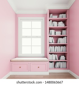 Comfy upholstered window seat with drawers in a window nook with library and books. Millennial pink colored walls. Trim, molding, crown and baseboard in white color. 3d rendering, 3d illustration