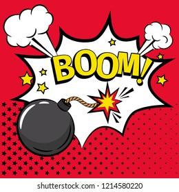 Comic bomb. Cartoon kaboom bomb icon with boom text and burning fuse detonator illustration