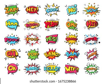 Comic book bubbles. Cartoon explosions funny comical speech clouds, comics words, thinking bubbles and graphic conversation text elements  illustration set. Comic book emotional bubbles
