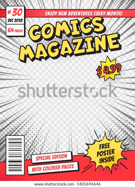 Comic Book Cover Comics Books Title Stock Illustration