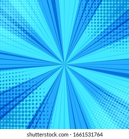 Comic book page blue blank background with colorful halftone, dotted and radial effects