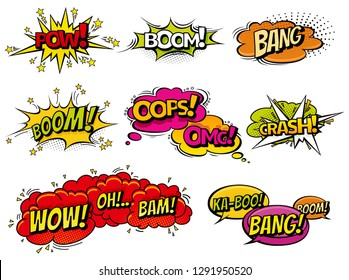 Comic book sound effect speech bubbles, expressions. Collection  bubble icon speech phrase, cartoon exclusive font label tag expression, sounds illustration background. Comics book balloon