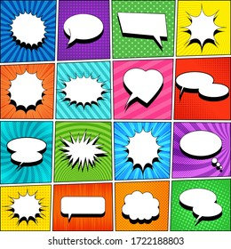 Comic book template with white blank speech bubbles of different shapes on colorful backgrounds with rays, halftone, slanted lines, radial and dotted effects