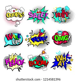 Comic book texts. cartoon comics art speech bubbles and action blasts with text wow and ooops, sale and hello isolated on white background