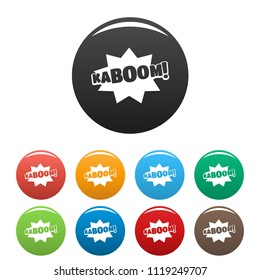 Comic boom kaboom icon. Simple illustration of comic boom kaboom icons set color isolated on white