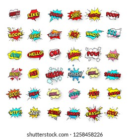 Comic bubbles. Cartoon text balloons. Pow and zap, smash wtf oops wow omg yeah poof boo and kaboom smash bang boom comics expressions. Speech bubble retro  pop art stickers isolated sign set