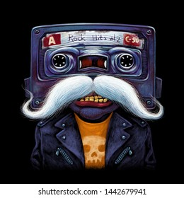 Comic character. Old audio cassette. Rocker with moustache and leather biker jacket. Cartoon illustration print on  t-shirt