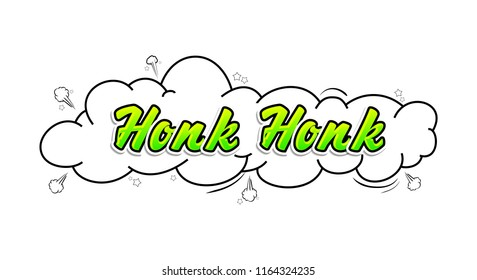 Comic collection word Honk Honk, colored sound chat text effects pop art style. 3d font.