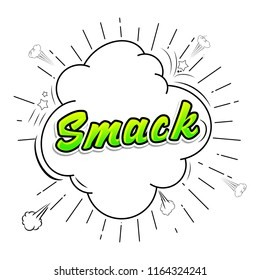 Comic collection - word Smack colored sound chat text effects pop art style. 3d font.