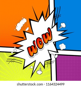 Comic collection -word WOW, colored sound chat text effects pop art style. 3d font.