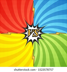 Comic fight concept with four opposite sides and radial background halftone lightnings effects