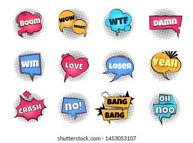 Comic pop art bubbles. Cartoon text balloon wow explosion sticker fun speech bubble comics retro cloud boom bubble.  splash bulb set
