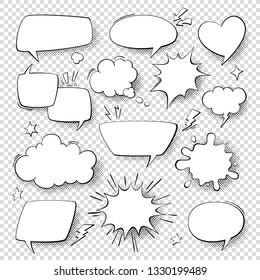 Comic speech bubbles. Cartoon comics talking and thought bubbles. set of speech shapes.