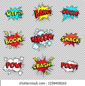 Comic speech bubbles. Cartoon explosions text balloons. Wtf bang ouch boom smack pow crash poof popping color burst comics expression retro  shapes isolated sign collection