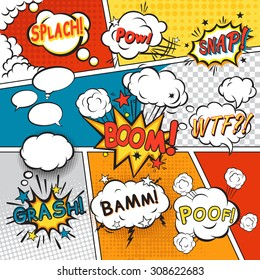 Comic speech bubbles in pop art style with splach powl snap boom poof text set  illustration