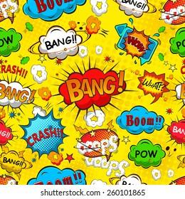 Comic speech bubbles seamless pattern illustration