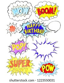 Comic speech bubbles set with prase WOW, BOOM, POP, POW, SUPER and empty