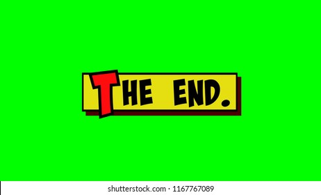 A comic strip yellow box with the text The End popping up in red and black, cartoon-style. Green background.