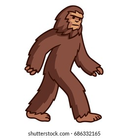Comic style cartoon bigfoot walking. Mythical creature clip art illustration.