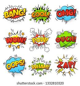 Comic words. Cartoon speech bubble with zap pow wtf boom text. Comics pop art balloons illustration set
