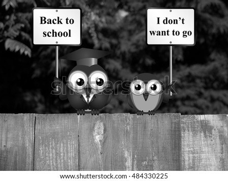 Comical Teacher Back School Message Reluctant Stock