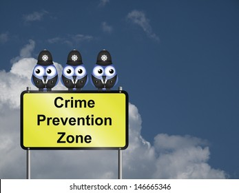 Comical UK crime prevention zone sign against a cloudy blue sky