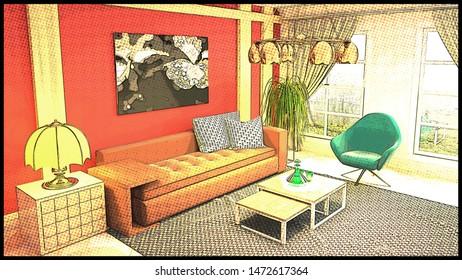 Comics interior of the living room. 3D illustration.