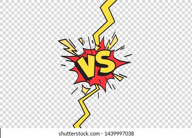 Comics vs frame. Versus lightning ray border, comic fighting duel and fight confrontation logo. Vs battle challenge, sports team matches conflict isolated cartoon  background