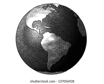 Comics-style black and white illustration of the planet earth, referring to globalization, international trade, humankind, communication and travel (processed with the use of ToonCamera by CodeOrgana)