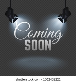 Coming soon concept with spotlights on stage isolated illustration