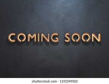 COMING SOON neon sign on dark background. 3D illustration