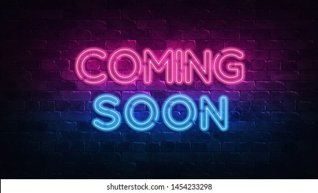 Coming Soon neon sign. purple and blue glow. neon text. Brick wall lit by neon lamps. Night lighting on the wall. 3d illustration.