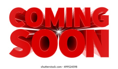 COMING SOON red word on white background illustration 3D rendering