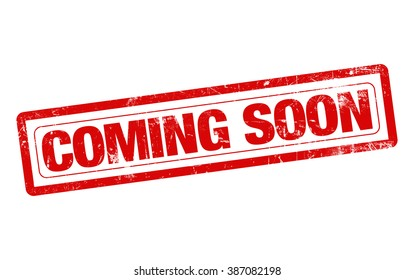 Coming soon word red stamp text on white background