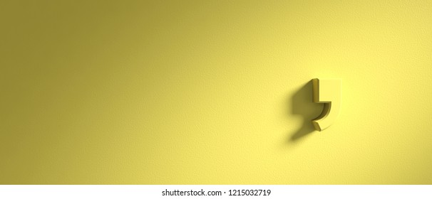 Comma mark on pastel yellow wall background, banner, copy space. 3d illustration