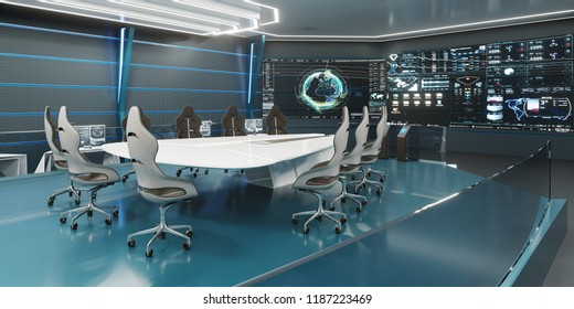 Command center, conference room, concept design, big displays with big desk in center, 3D rendering