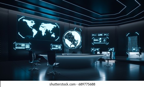 Command center interior, 3D rendering